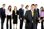 Business man with group — Stock Photo