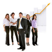 Business man among business women — Stock Photo