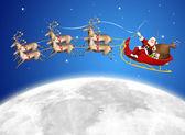 Santa in his sled — Stock Photo