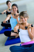Aerobics class with free weights — Stock Photo
