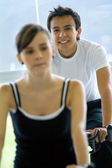 Gym doing spinning — Stock Photo