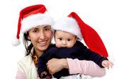 Family with Santa hat — Stock Photo