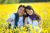 Couple at a meadow — Foto Stock