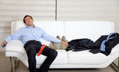 Exhausted business man — Stock Photo