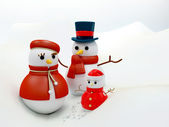 Snow family — Stock Photo