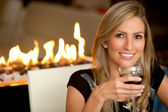Woman at a romantic dinner — Stock Photo