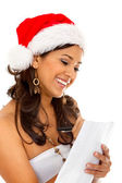 Christmas woman with present's list — Stock fotografie