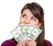 Woman with a money fan — Stock Photo