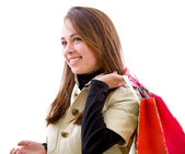 Shopping woman smiling — Stock Photo