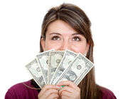 Casual woman with money — Stock Photo