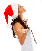 Santa woman waiting for something — Stock Photo