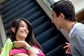 Couple at a shopping center — Stock Photo