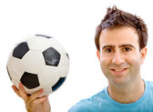 Man with a soccer ball — Stock Photo