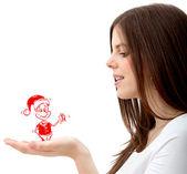 Mädchen mit weihnachten zeichen — Stockfoto