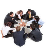 Businessgroup with hands together — Stock Photo