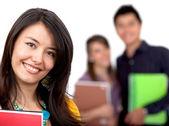 Studentka se skupinou — Stock fotografie
