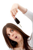 Woman with car keys — Stock Photo