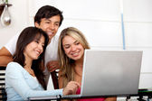 Friends with a computer — Stock Photo