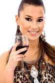 Woman having a glass of wine — Stock Photo