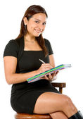 Business woman taking notes — Stock Photo