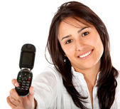 Woman displaying a cell phone — Foto de Stock