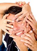 Adamın elleri yüzünde — Stok fotoğraf