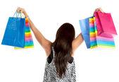Nákupní žena s vaky — Stock fotografie