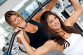 Gym woman and trainer — Stockfoto