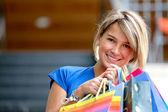Beautiful shopping girl — Stok fotoğraf