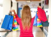 žena hospodářství nákupní tašky — Stock fotografie