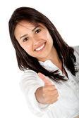 Mulher com polegares para cima — Foto Stock