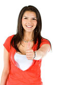 Woman with thumbs up — Stock Photo