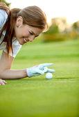 Женщина гольфа — Стоковое фото