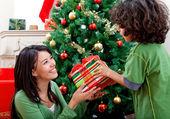 Frau weihnachten ein geschenk geben — Stockfoto