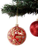 Christmas balls hanging on tree branch — Stock Photo