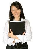 Business woman smiling - folder — Stock Photo