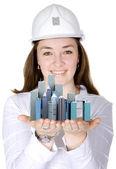Corporate female architect smiling — Stock Photo