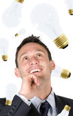 Business creativity - man with ideas — Stock Photo