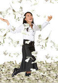 Business woman with lots of money — Stock Photo