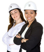 Diverse architects - caucasian and asian — Stock Photo