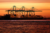 Cargo ship at sunset — Stock Photo