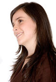 Beautiful girl pensive with a happy face — Stock Photo