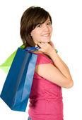 美丽少年与购物袋 — 图库照片