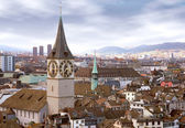 Zurich skyline with tower clock — Stock Photo