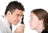 Eye test - doctor and patient — Stock Photo