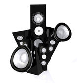 Abstract speakers in black — Stock Photo