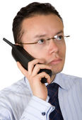 Business man on an analogue phone — Stock Photo
