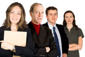 Female entrepreneur and her business team — Stock Photo