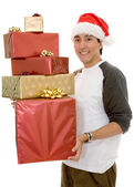 Casual santa claus with gifts — Stock Photo