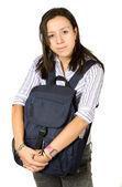 Vacker student kramas en väska — Stockfoto